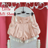 Girls Trendy Sweet Cute Kawaii classical Punk Gothic Lace Strap shorts Pink