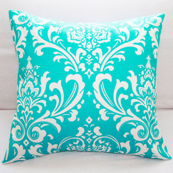 Turquoise Delight on White Pillow Cover 18 x 18 Envelope Pillow Cover