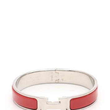 Hermes Click Crack PM Bangle Red Silver SilverHardware Accessory