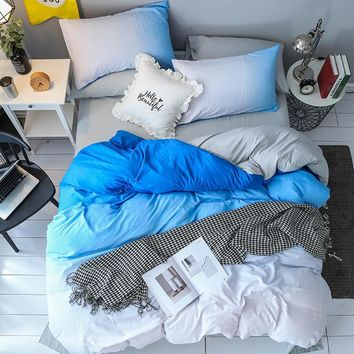 Cool Cilected Gradient Blue 2/3pcs Duvet Cover Set with Pillowcases Nordic Decorative Bedding Set Quilt Cover Single Queen King SizeAT_93_12