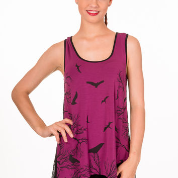 Banned Gothic Dark Forest Birds w/ Sheer Spiderweb Lace Back Flare Tank Top