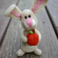 Autumn the Brown Bunny and Pumpkin , Needle Felted Rabbit , Soft plush stuffed toy,  Fall home decoration