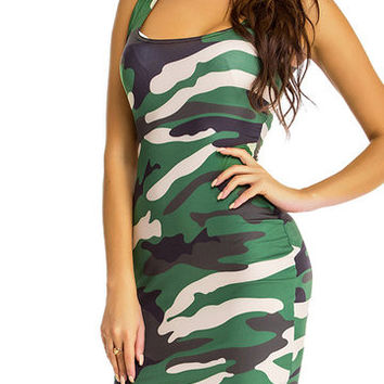 Green Camouflage Scoop Neck Bodycon Dress
