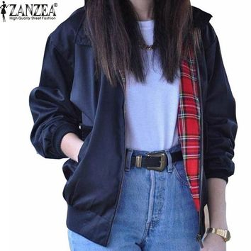 Zanzea 2016 Women's Casual Long Sleeve Tartan Lined Zippered Pocket Bomber Jacket/Coat