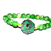 Green Rainbow Gemstone Bracelet With Focal Green Rhinestone Bead