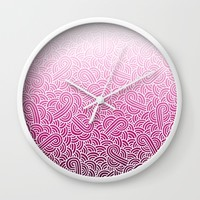 Ombre pink and white swirls zentangle Wall Clock by Savousepate