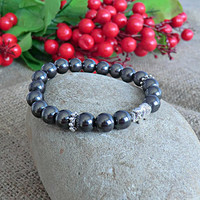 Mens Bracelet Elephant Bracelet Men Jewelery Hematite Bracelet Stone Bracelet Mens gift Bracelet for men