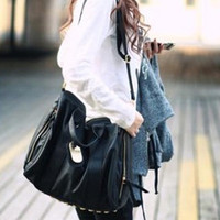 Casual Womens Solid Black Stud Shoulder Bag Handbag Tote