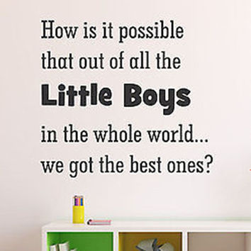 How is it Possible That Out Little Boys Quote Varied Size Vinyl Wall Decal
