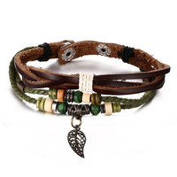Leather Bracelet for Women Multilayer Charm Bangle Wrap Braided Rope,22cm