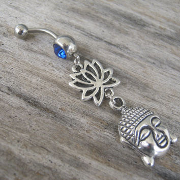 Buddha Lotus Belly Ring, Buddha Belly Button Ring, Buddhist Om Navel Piercing, Tibet, Yoga Inspired, Buddhist Body Jewelry