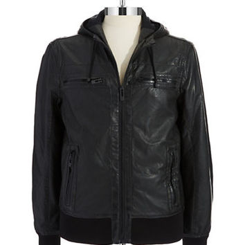 Rogue State Faux Leather Hooded Jacket