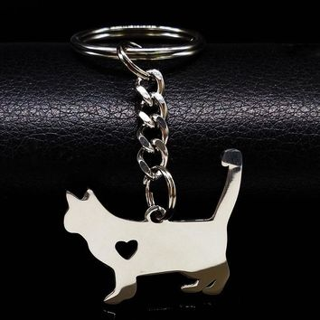Fashion Cute Pokemon Cat Keychain Silver Color Stainless Steel