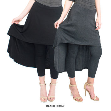 Cape Skirted Leggings - Assorted Colors & Extended Sizes