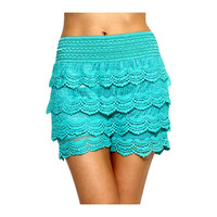 Crochet lace layered shorts with banded waist, Mint. (Size M/L)