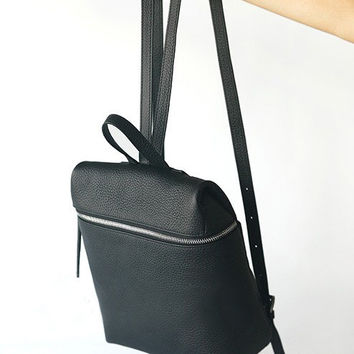 Black Leather Backpack - Top Zip Pebble Leather Backpack