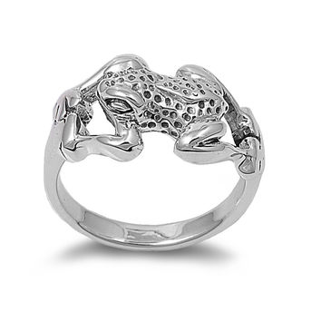 925 Sterling Silver Poison Dart Frog 13MM Ring