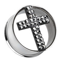 Glistening Cross Sparkling Tunnel Ear Gauge Plug