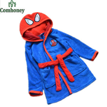 Children's Bathrobes 2-8T Spiderman Baby Boys Girls Robe Hooded Flannel Pajamas Kids Soft Bath Robes Children Beach Towels