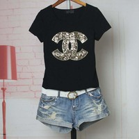 Women Casual Fashion Sequins Letter Logo Embroidery Short Sleeve Shirt Top Tee