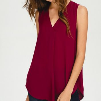 Burgundy V-neck Shirttail Tank