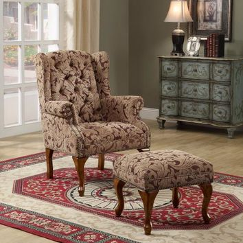 Coaster 3932B Light brown and burgundy damask patterned fabric upholstered button tufted wing chair with cherry finish legs and nail head trim