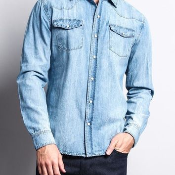 Washed Denim Western Button Up Shirt SH449 - E9I