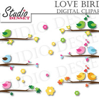 Love Birds Clipart, Bird on Branch and Flowers, Wedding, Digital Clip Art, INSTANT DOWNLOAD C223