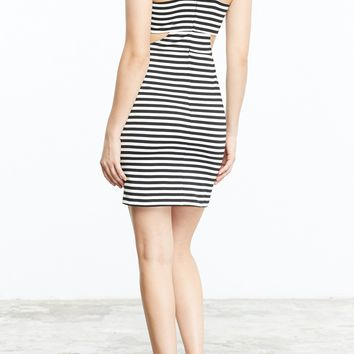 Women's BB Dakota Black Geno Stripe Sleeveless Dress