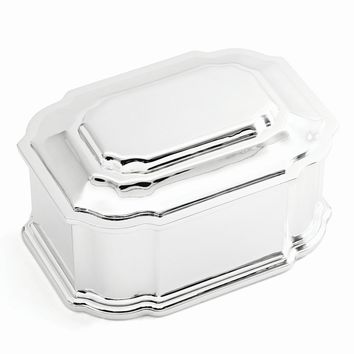 Silver-plated Hinged Lid Jewelry Box - Engravable Personalized Gift Item