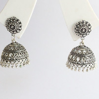 Antique silver beads jhumka,indian jhumka,victorian jhumka earrings, statement