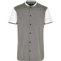 River Island MensGrey short sleeve baseball shirt
