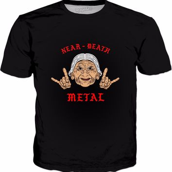 Near Death Metal T-Shirt - Funny Old Lady Metal