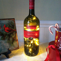 Upcycled Wine Bottle Lights/Art Deco Christmas Wine Bottle Light Decor/Handmade Wine Bottle Decor/Secret Santa Gift