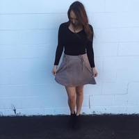Taupe Suede Skirt
