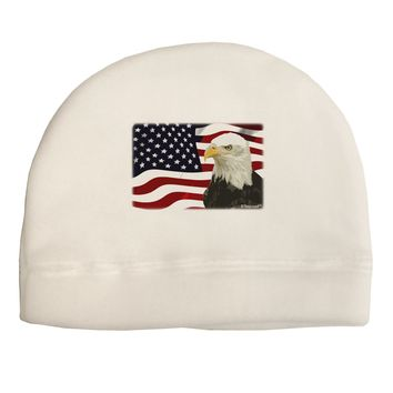Patriotic USA Flag with Bald Eagle Child Fleece Beanie Cap Hat by TooLoud