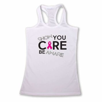 Women's Show you Care Be Aware Breast Cancer Racerback TANK TOP WHITE