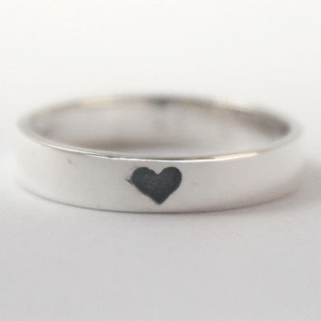 Hidden Heart 925 Sterling silver Ring with tiny oxidized heart w. carved heart inside. Valentines Gift, Engagement, friendship, Mothersday