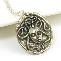 Medusa Necklace, Silver Medusa Pendant, Snake Serpent Charm with Chain Greek Mythology Jewelry