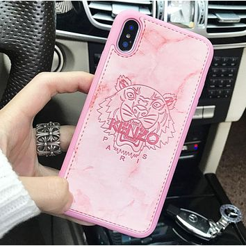 Kenzo Fashion New Letter Tiger Print Women Men Phone Case Protective Cover Pink