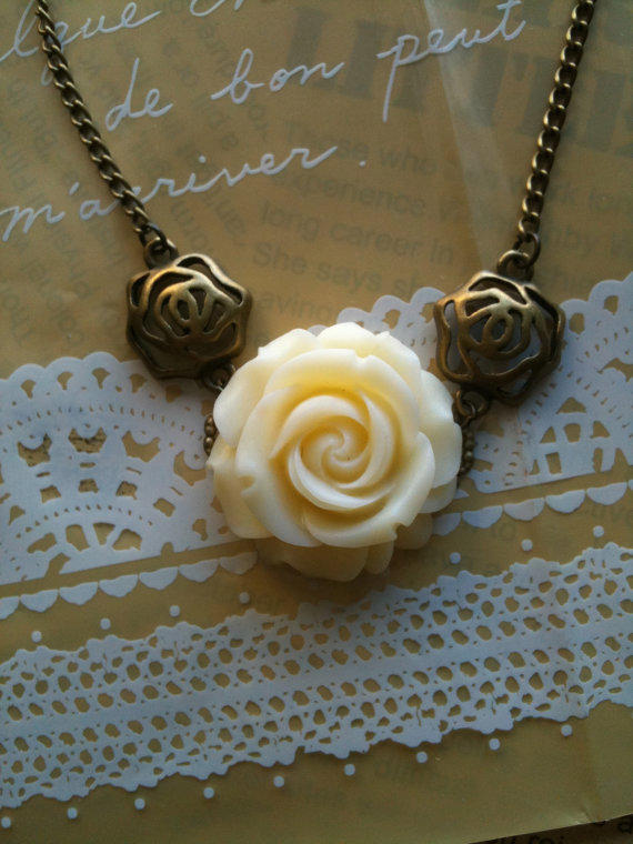Rose Flower Necklace by Victorianstudio on Etsy