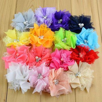 LMF78W 80pcs/lot 3.54Inch For girl Kids Hair Flower Rhinestone Center Flat Back Girls Lace Chiffon Flower DIY Headband Accessories MH66