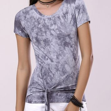 Fashionable Round Collar Short Sleeve T-Shirt