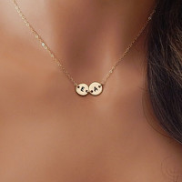 Initial Necklace, Double Initial Necklace, Monogram Initial, Mom Necklace, Minimal Necklace, Child, Couple Necklace [BUD2] [N-236]