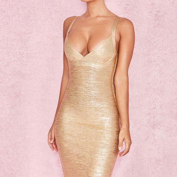 Clothing : Bandage Dresses : 'Iman' Metallic Gold Cross Bust Bandage Dress