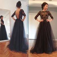 2016 3/4 Sleeves Black Lace Tulle A-Line Prom Dresses Bateau neckline with Beaded sequins detali and Sexy Back Prom Dresses
