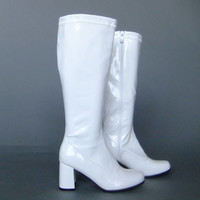 white gogo boots, nancy sinatra boots, mod boots, retro boots