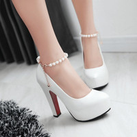 high heels pumps women wedding shoes platform shoes white sy-2251