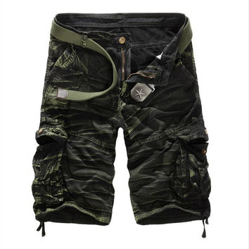 Summer New Casual Men Shorts Cotton Loose Half Camouflage Military style