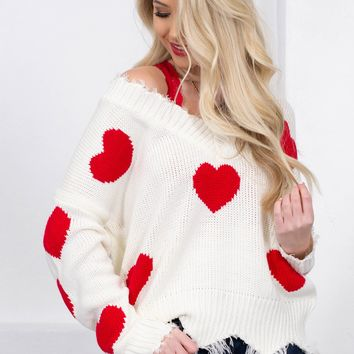 Promise Heart Frayed Sweater